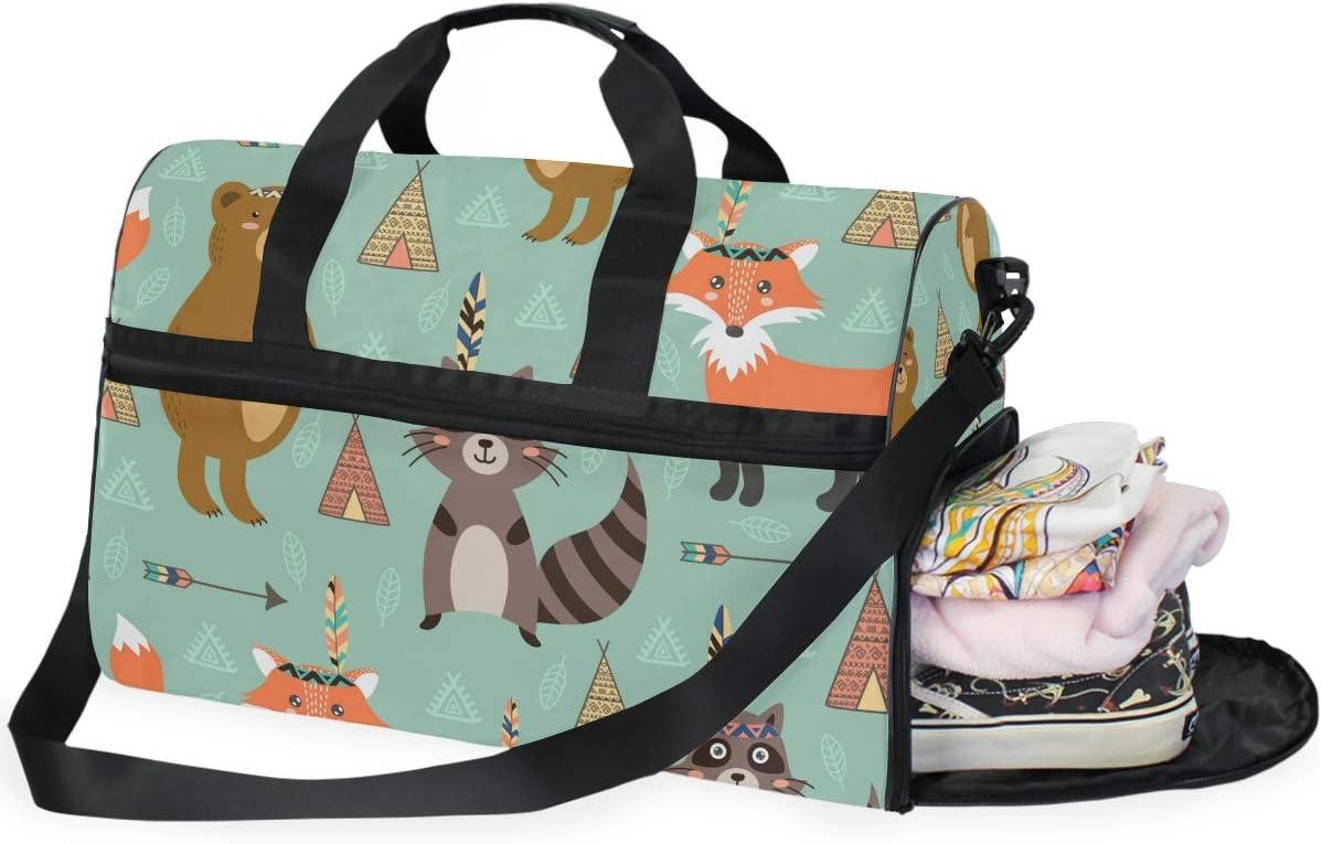 FANTAZIO Animals Bear Fox And Raccoon Sports Duffle Bag Gym Bag Travel Duffel with Adjustable Strap