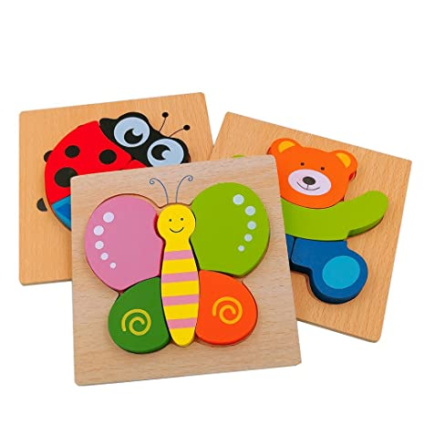 5746833c41082 Amazon.com  DreamsEden Wooden Jigsaw Puzzles for Toddlers Animal Chunky  Puzzles Educational Toys for Kids Boys Girls
