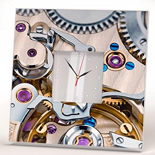 Steampunk Style Fan Lovers Wall Clock Framed Mirror Print Gear