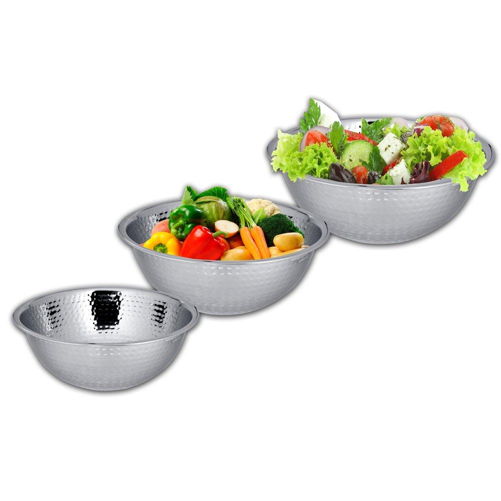 14,16,18 cm Hammered Mixing Bowl Kosma Set of 3 Stainless Steel Salad