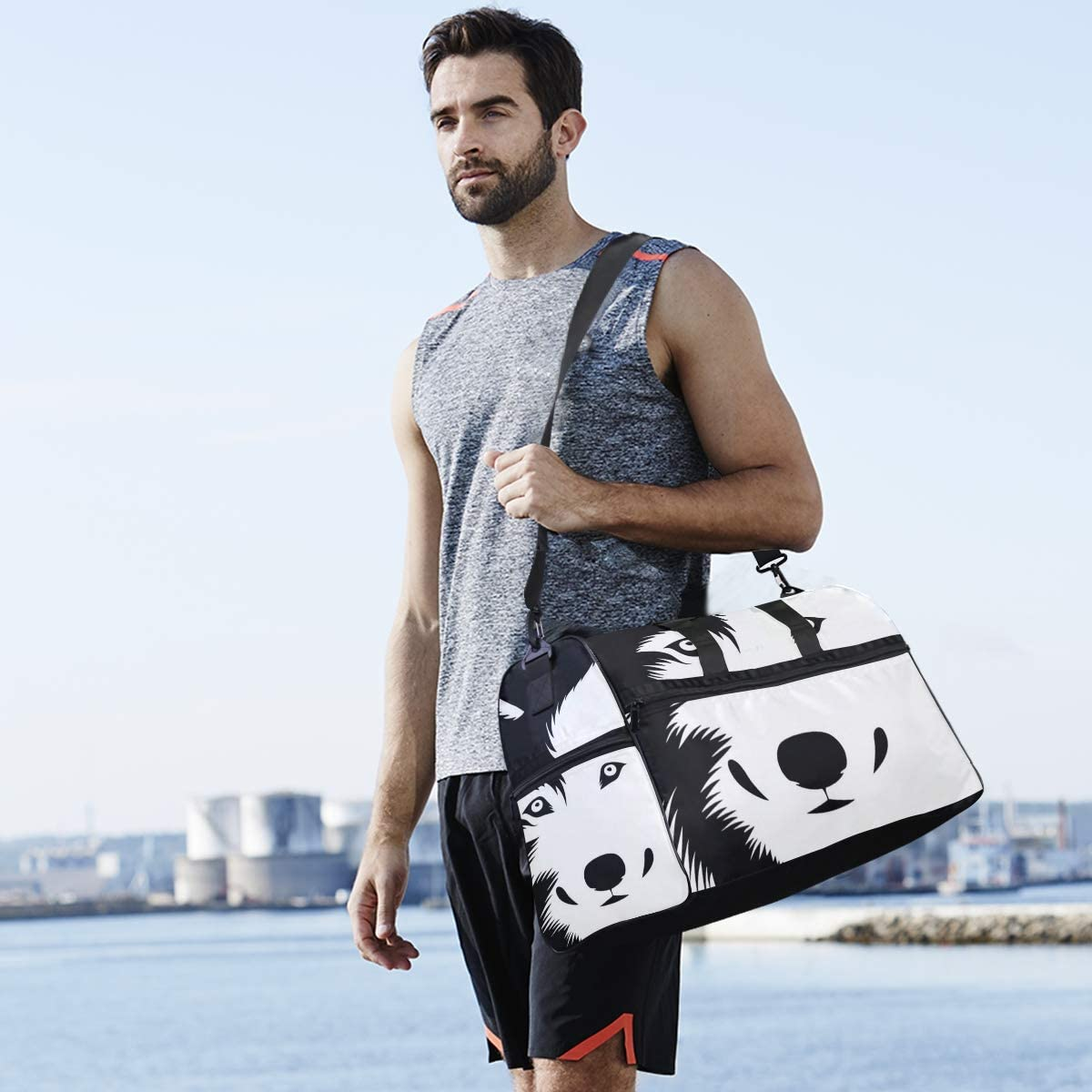 Black White Wolf Wild Animal Sports Gym Bag with Shoes Compartment Travel Duffel Bag for Men and Women