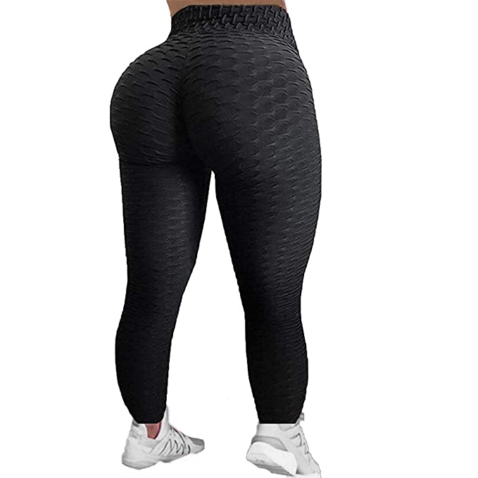 e0aaaacbd FITTOO Womens High Waist Textured Workout Leggings Booty Scrunch Yoga Pants  Slimming Ruched Tights Black S