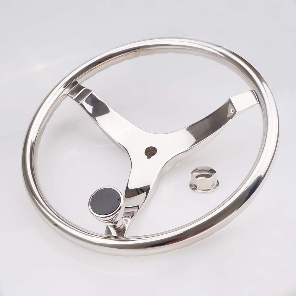 3 Spoke Boat Steering Wheel 13-1/2'' Dia, with 1/2''-20 Nut and Turning Knob for Teleflex Cable Helm - S.S by FUTURUP (Image #4)