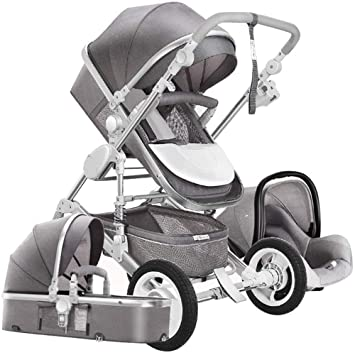 Ibnotuiy High Landscape Baby Stroller Shockproof Two Way Infant Pushchair With Car Safety Seat Combo