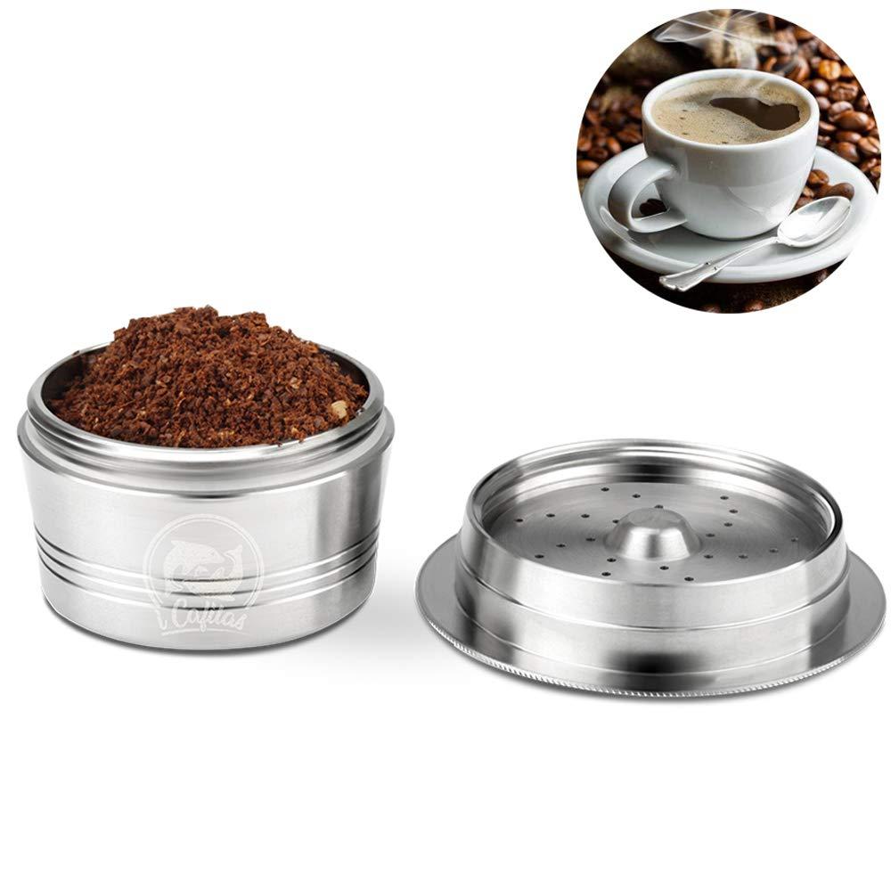 taza de filtro de caf/é reutilizable de acero inoxidable para K-Fee con cepillo de limpieza de cuchara de pl/ástico OurLeeme C/ápsula recargable de caf/é