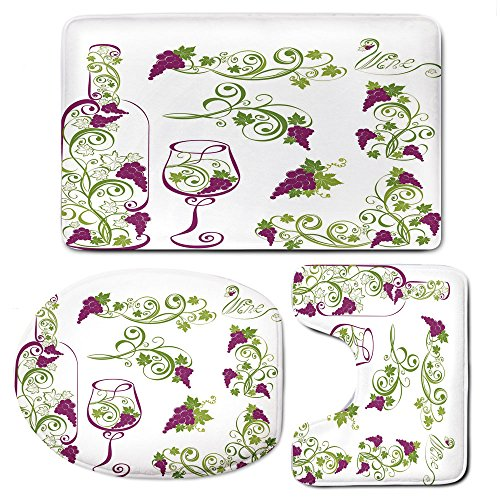3 Piece Bath Mat Rug Set,Wine,Bathroom Non-Slip Floor Mat,Wine-Bottle-and-Glass-Grapevines-Lettering-with-Swirled-Branches-Lines-Decorative,Pedestal Rug + Lid Toilet Cover + Bath Mat,Purple-Lime-Green - Grapevine Pedestal