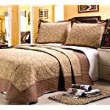 """Home Sense 3 Pcs Luxury Microfiber Embroidered Bedspread Coverlet Quilt Set King Queen Full Size"""" (Queen/Full)"""