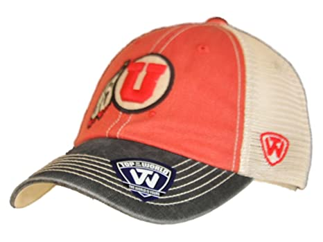 purchase cheap 2d949 9f730 Image Unavailable. Image not available for. Color  Top of the World Utah  Utes Red Black Offroad Adj Snapback Hat Cap