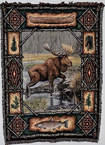 Pure Country Weavers - Moose Lodge Woven Tapestry Throw Blanket with Fringe Cotton USA Size 72 x 54