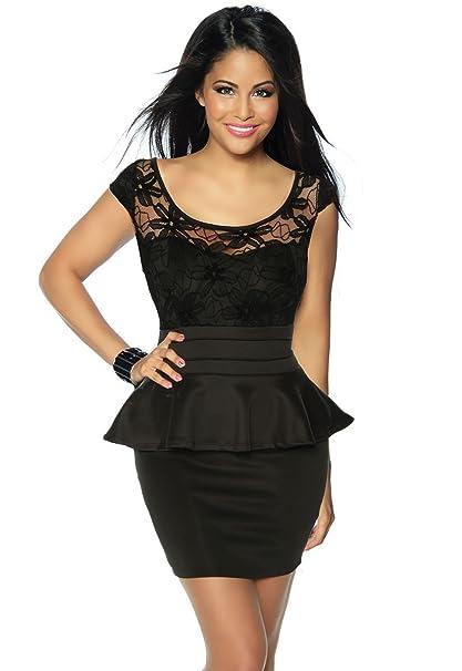 El Kleine Negra schößchen Mini vestido Nochevieja con puntas de Top a12920 – 1 schwarz (