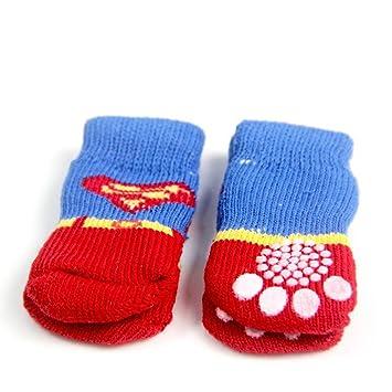 Longwei Calcetines Para Perros, Zapatos Antideslizantes Para Mascotas De Color Rojo Contra El Sucio Otoño