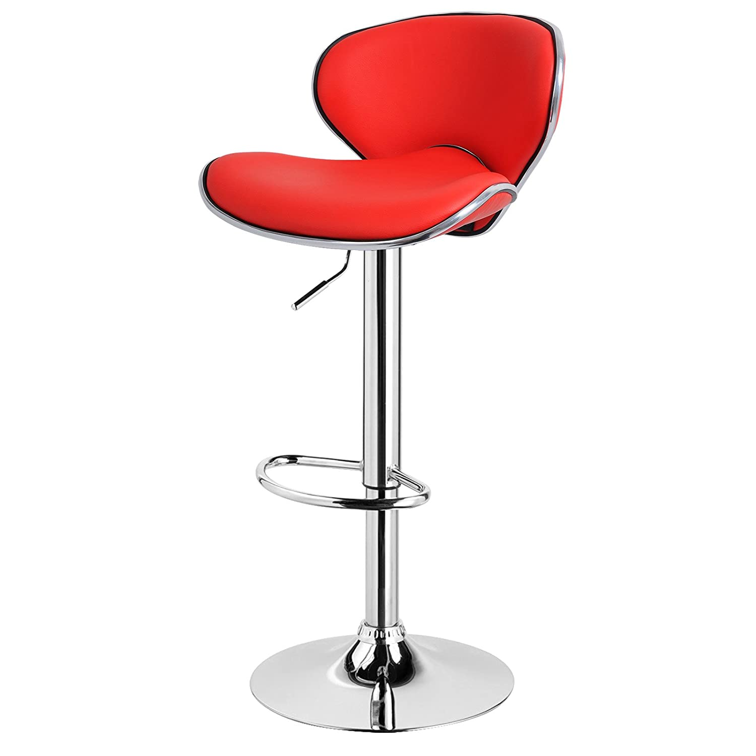 EUGAD 1 x Bar Stools with Backrest Gas Lift Adjustable Chair Swivel Hydraulic Chair Home and Kitchen Stools, Red