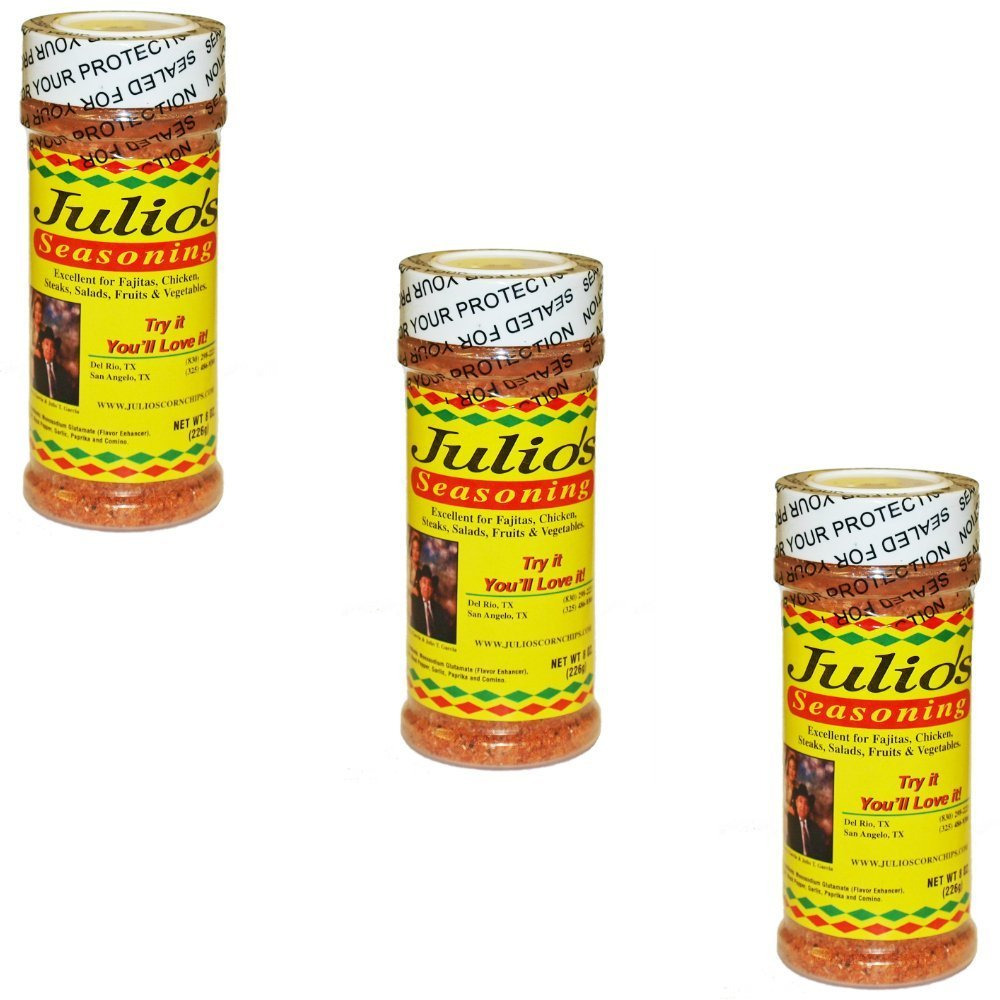 Julio's Tortilla Chips Famous Seasoning - Three 8 oz Bottles