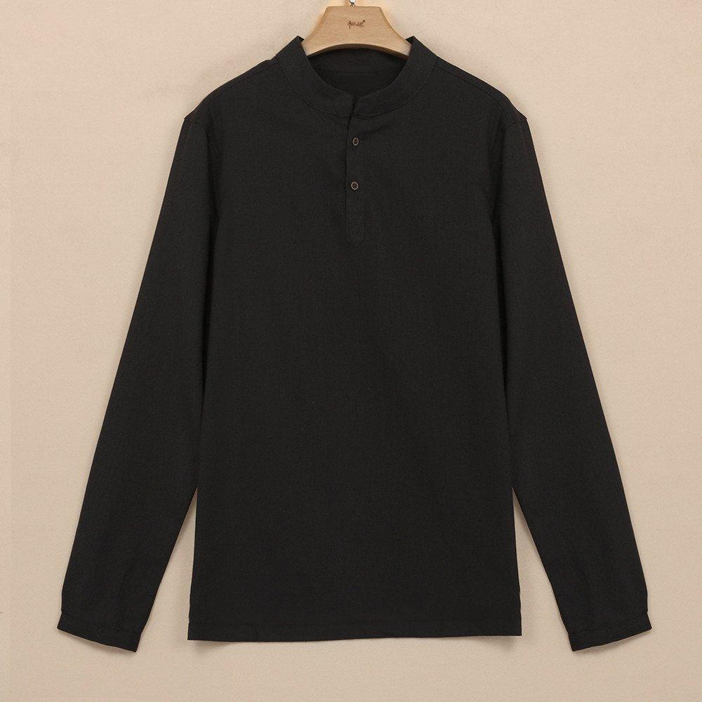 Camisas de Hombres,Dragon868 Moda Hombre Lino Manga Larga Slim Fit Camisa Casual
