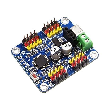 Bluetooth 16 canales PWM Servo Motor Controlador de placa de circuito PCB engranaje de dirección para SG90 MG995 Arduino Robot servo escudo Raspberry Pi DIY ofrece software para PC/Android libremente: Amazon.es: Industria,