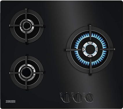 Zanussi ZGO68330BA Placa de gas, Gas on Glass, 3 fuegos, Quemador Wok, Mandos Frontales, Calor Instantaneo, Encendido electrónico, Parrillas hierro ...