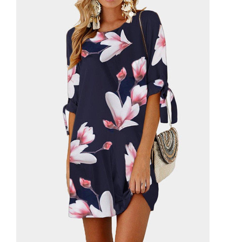 Vestidos de Fiesta Mujer,Modaworld ❤ Mini Vestido de cóctel Bowknot de Estampado Floral para Mujer Vestidos Mujer Corta Vestir Ropa Falda Camisetas ...