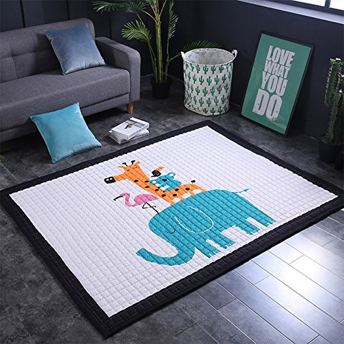 Baby Jungle Haute (dream_home Large Children Play Mat 57''X77''- Cartoon Animal Design Crawling Rugs for Baby, Toddler, and Kids Play Blanket, Yoga Mat, Exercise Mat- Soft, Non-toxic)