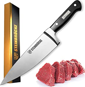 STEINBRÜCKE Chef Knife 6 inch, Pro Kitchen Knife Forged from German Stainless Steel 5Cr15Mov (HRC58), Full Tang, Ultra-sharp Classic Cooks Knife with Ergonomic Handle for Home Kitchen & Restaurant