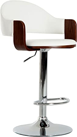 HOMCOM HOMCOM Bar Stool Kitchen Breakfast Barstool Seat Chrome Metal Base Dining