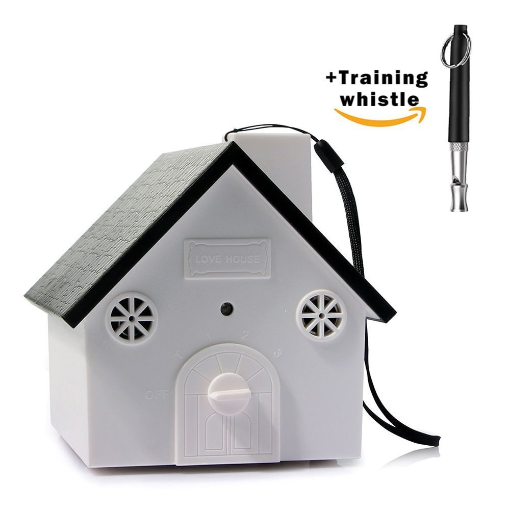 RLgoods Anti-Bark Controller House Shape No Bark Tool Stop Barking Repeller Bark Deterrents for Small Medium and Large Dogs Training Tool (White-1)