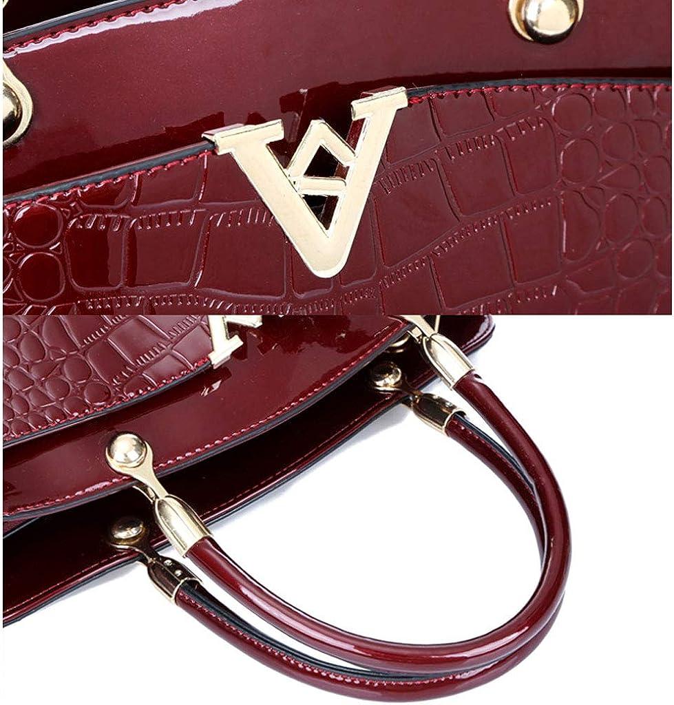 Damen Leder Handtasche Schultertasche, Große Kapazität 3 Stück Mode Black