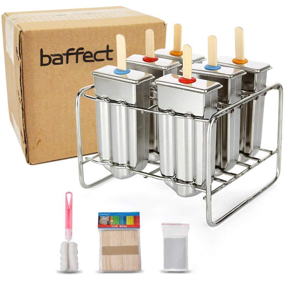 Molde de Popsicle del acero inoxidable de Baffect con el molde del molde del helado del sostenedor del palillo de 6