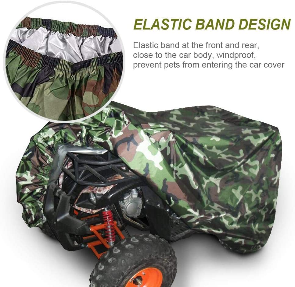 Volwco Housse de Protection pour Quad ATV Camouflage 190T Ext/érieur Universelle Protection Contre Les intemp/éries Imperm/éable /à leau pour la Plupart des Types de v/éhicules ATV