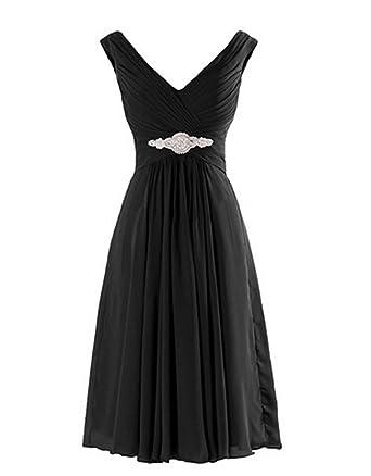 Angel Formal Dresses Womens V Neck V Back Rhinestone Chiffon Bridesmaid Dress Evening Prom Dress(