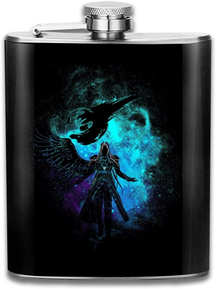 Sephiroth Silhouette Final Fantasy VII Flasque de poche portable en acier inoxydable avec drapeau 200 ml