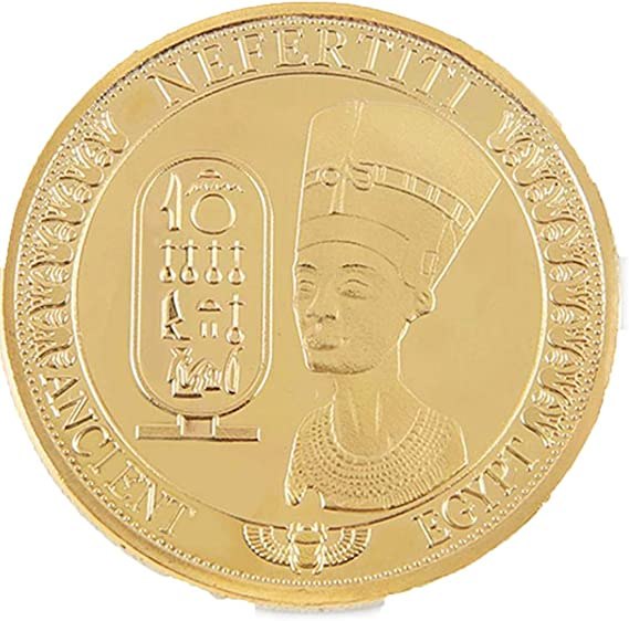 AmaMary Monedas conmemorativas, Oro Plateado Antiguo Egipcio Reina Nefertiti colección de Monedas conmemorativas (1 Pieza de Oro): Amazon.es: Juguetes y juegos