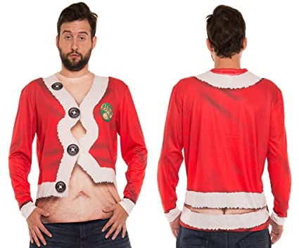 cd402e7afdaae Amazon.com  Faerynicethings Adult Size Faux Real Fat Santa T Shirt - Ugly  Christmas Sweater - 5 Sizes  Clothing