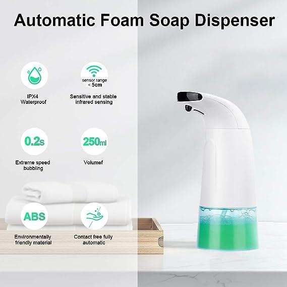 Dobee Dispensador de jabón automático, Espuma Dispensador Sensor de jabón Espuma sin Contacto Dispensador de Manos Dispensadores de 250 ml para baño, ...