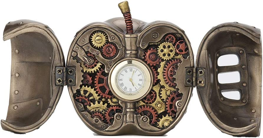 Veronese Design 3.5 Inch Steampunk Mechanicus Apple Clock Antique Bronze Finish Table Top Sculpture Fruit Figurine