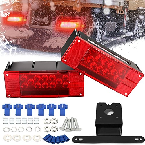 AMBOTHER 2pcs 22-LED Trailer Light Kit Tail Stop Brake License-Plate Turn Running Marker Lights Rectangular Low Profile Light for Boat Trailer Truck Universal Red DC 12V (Pack of 2)