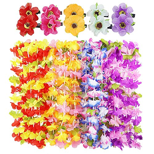 Wholesale APLANET 20pcs Hawaiian Leis Hawaiian Luau Necklaces, Simulation Silk Flower Necklace, 4 Styles