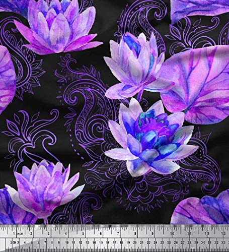 (Soimoi Purple Velvet Fabric Paisley,Leaves & Lotus Flower Fabric Prints by Yard 58 Inch)