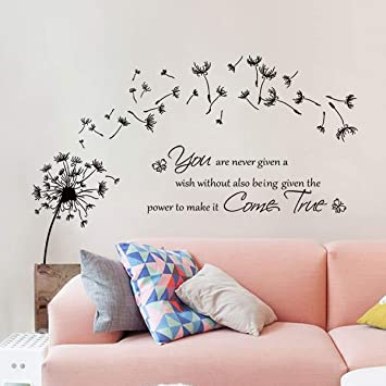 Amazon Com Decalmile Dandelion Wall Stickers Quotes Inspirational Letters Wall Decals Living Room Bedroom Wall Decor Kitchen Dining