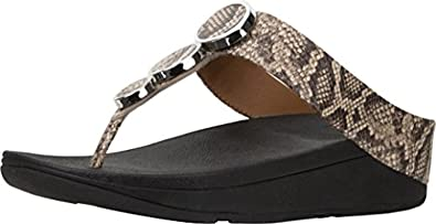 58e0b70f076 FitFlop Women s Halo Toe Thong Sandals Taupe Snake 5   Sunlotion Bundle
