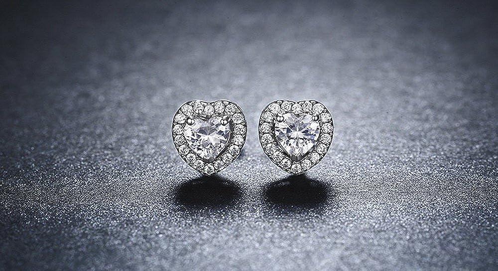 PAHALA 925 Sterling Silver Lovely Rabbit Double Heart Love Party Wedding Stud Earring