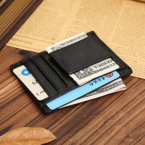 NEW Men Leather Wallets Money Clip Credit Card Id Holder Front Pocket Thin Slim (Black)](1000 Business Card Holder)