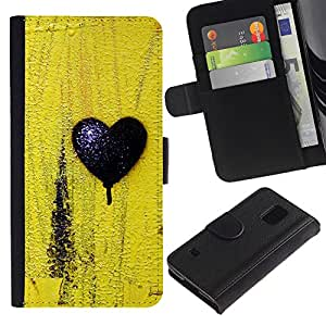 iKiki Tech / Cartera Funda Carcasa - Black Love Yellow Texture Minimalist - Samsung Galaxy S5 SM-G900