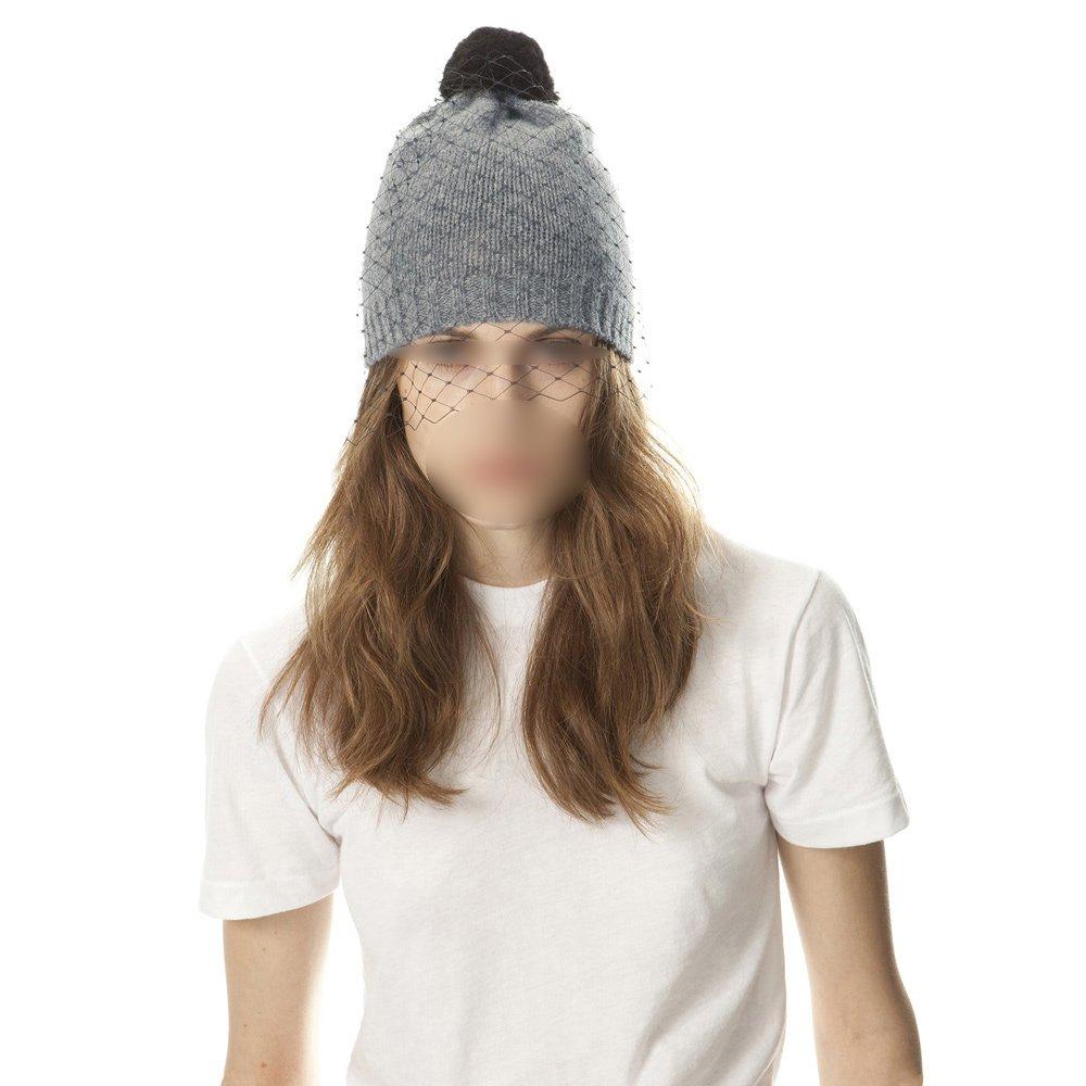 Autumn Winter Women Knitted Skullies With Veil,Vintage Fashion Women Beanies Net Bobble Decoration Crochet Hat Caps Top Quality