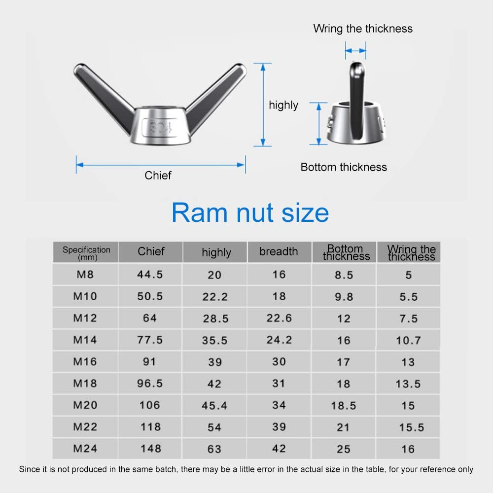 The Butterfly nut Stable Structure M5 high Hardness Coefficient 6 Pack of 304 Stainless Steel The Butterfly nut,Hand Screw nut Mature Technology Polished Smooth deep Thread,Size M5