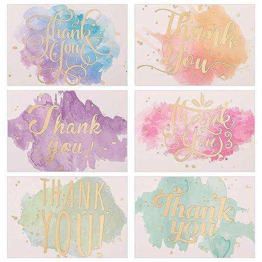 Yumi V 60Piezas Tarjeta de Agradecimiento Nota de Tarjeta de ...