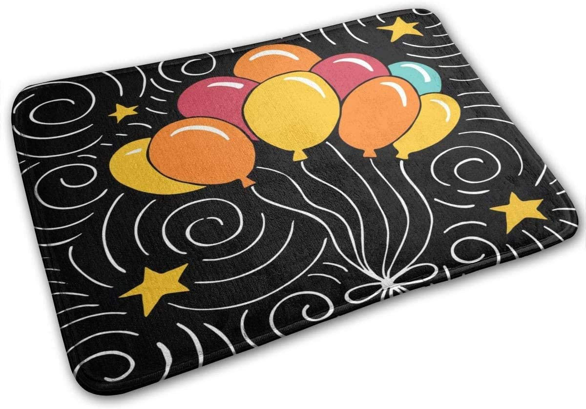 Happy Birthday Balloon Non-Slip Doormat Indoor Outdoor Bath Mat Rug Carpet Decoration(15.75x23.62 Inch)
