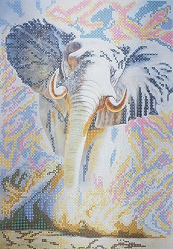 (Elephant Bead Embroidery Needlepoint Tapestry Handcraft DIY kit African Animal Beaded Cross Stitch Pattern Stitching Broderie de Perle)