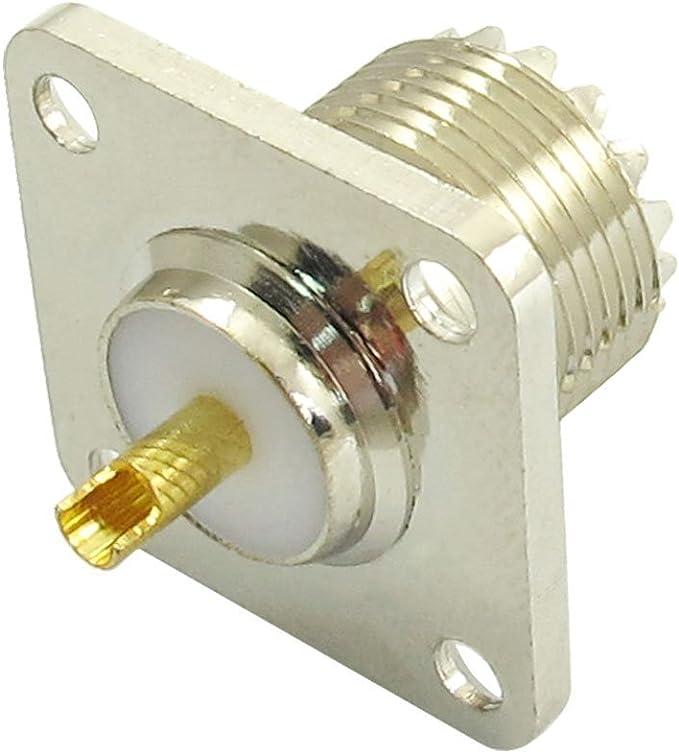 TOOGOO(R)UHF SO-239 hembra toma Conector coaxial de taza de soldadura de forma cuadrada para radioamador
