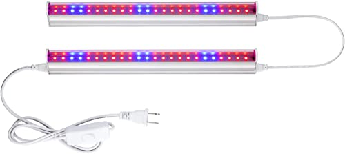 2pcs LED Grow Light T5 Growing Tube Plant Growth Lamp 29cm Red Blue Spectrum Indoor Plant Hydroponic System Garden Greenhouses Flowers Grow Lighting US Plug 2835SMD AC85-265V Pack of 2