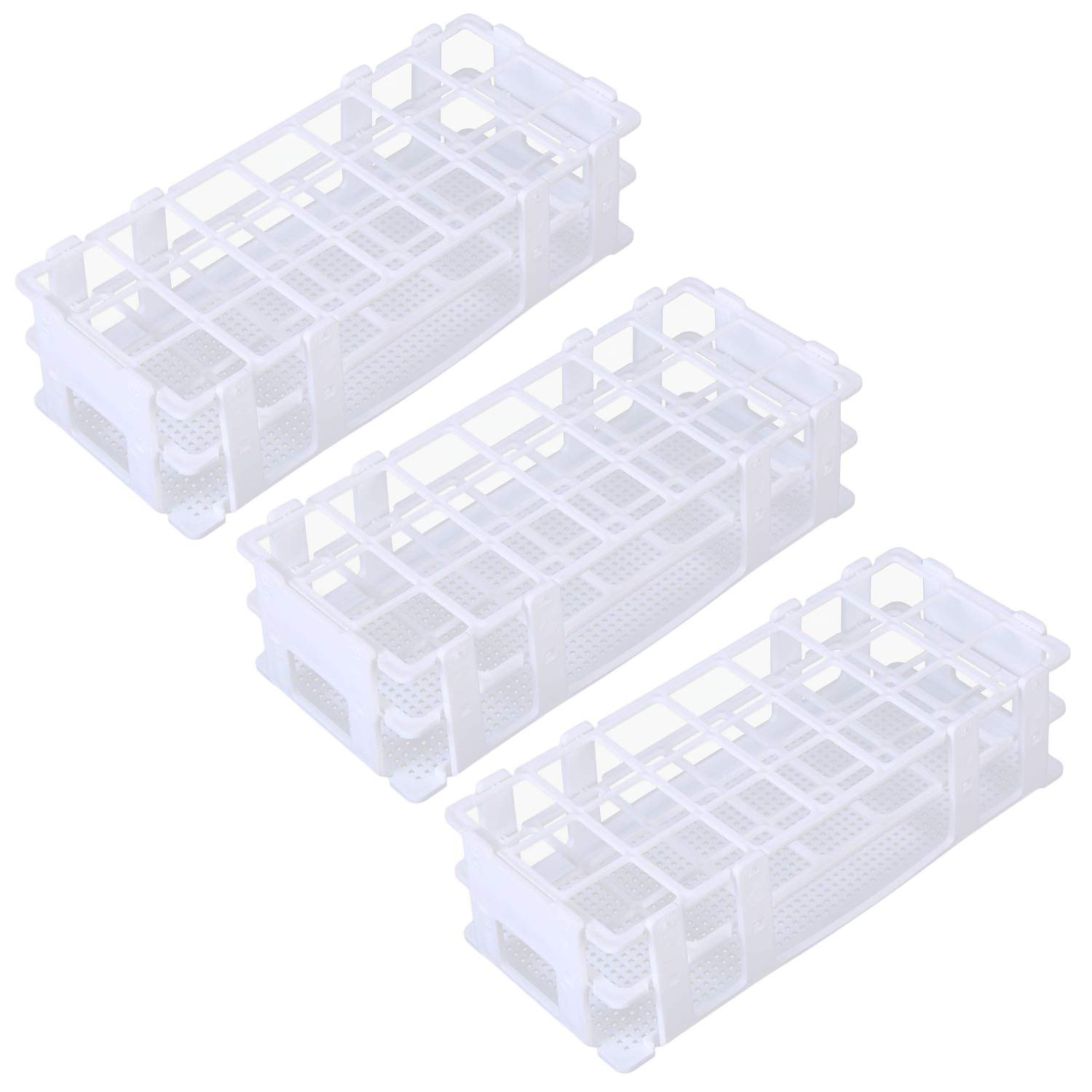 Pocomoco 3 Packs Plastic Test Tube Rack, 21 Holes Lab Test Tube Rack Holder for 30mm Test Tubes, White, Detachable (21 Holes) by Pocomoco